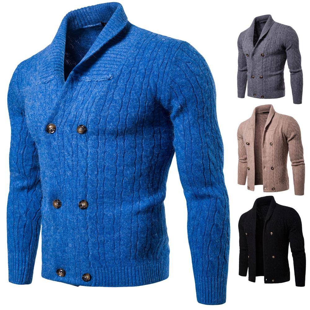 Autumn Winter 2020 New Youth Double-breasted Warm Thicken Thermal Men's Solid Color Thick Knit Cardigan Sweater Coat Spot
