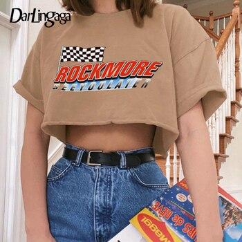 Darlingaga Streetwear Loose Crop Top Short Sleeve T shirt Woman Letter Printed Summer Tops Tees Casual T-shirt Clothes 2020 New - discount item  40% OFF Tops & Tees