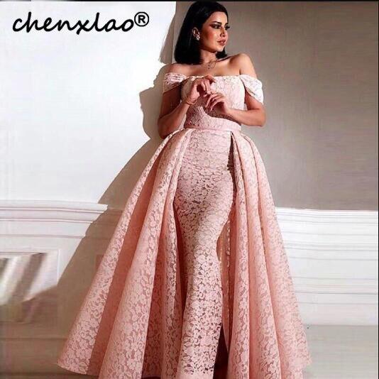 Rose dentelle fleurs sans manches Sexy sirène robes de soirée 2018 Dubai Designer hors épaule robe de soirée vestidos elegantes