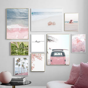 Sea Shell Car Plant Flower Coconut Tree Quotes Nordic Posters And Prints Wall Art Canvas Painting Wall Pictures For Living Room
