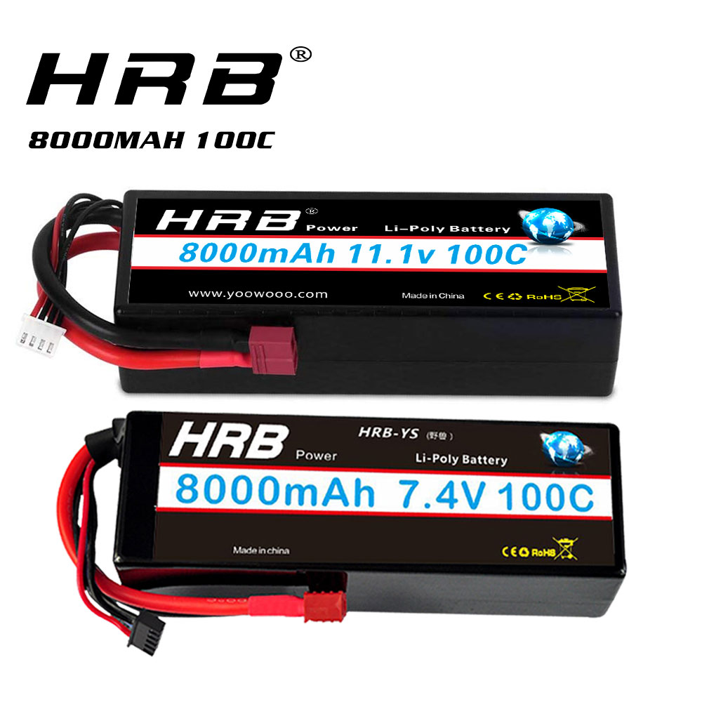 HRB RC Lipo Battery 2S 3S Lipo 8000mah 7.4v 11.1v 100C  XT60 Hard Case For Traxxass Rc Monsters Truck 1/10 1/12 Car Boats XL10
