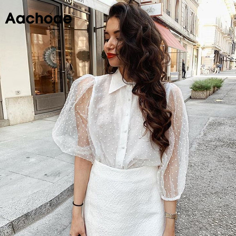 Women White Lace Blouses Elegant Dot Embroidery Blouse Shirt Sexy See Through Mesh Chic Tops Blusas Lantren Sleeve Loose Shirt