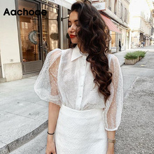 Women White Lace Blouses Elegant Dot Embroidery Blouse