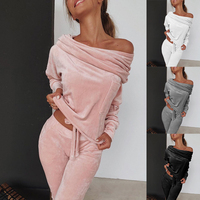 AVV 2019 New Autumn Female Cotton Casual One Shoulder Long Sleeve Tops And Wide Leg Pants Two Piece Set Tracksuit Women Suits