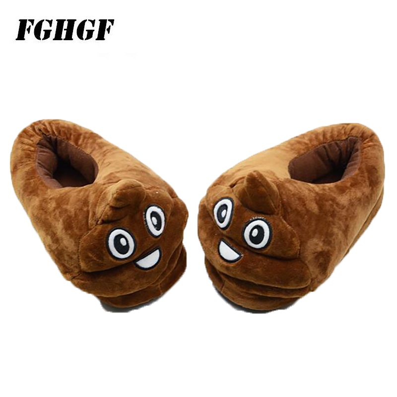 Defecate Slipper Expression Cotton Mop Cartoon Couple Cotton Slippers Household Cotton Shoes Fluffy Slippers