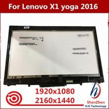 """Digitalizador de tela touch screen original, display lcd de 14 """"20fq wqhd, montagem para lenovo x1 yoga 1st gen 2560*1440 2016 ano"""