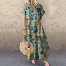 Kaftan Printed Maxi Dress Women's Summer Sundress 2021 ZANZEA Casual Short Sleeve Long Vestido Female O Neck Robe Plus Size 5XL