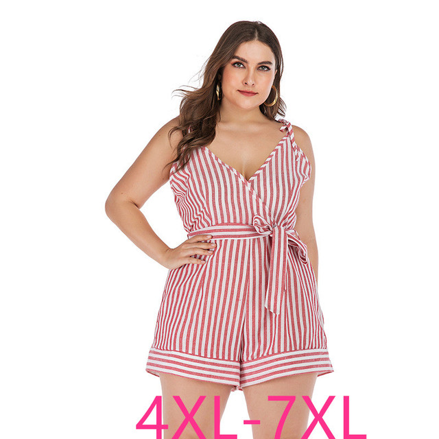 2019 new summer plus size sets for women large sleeveless loose casual stripe low-cut sling jumpsuits belt pink 4XL 5XL 6XL 7XL