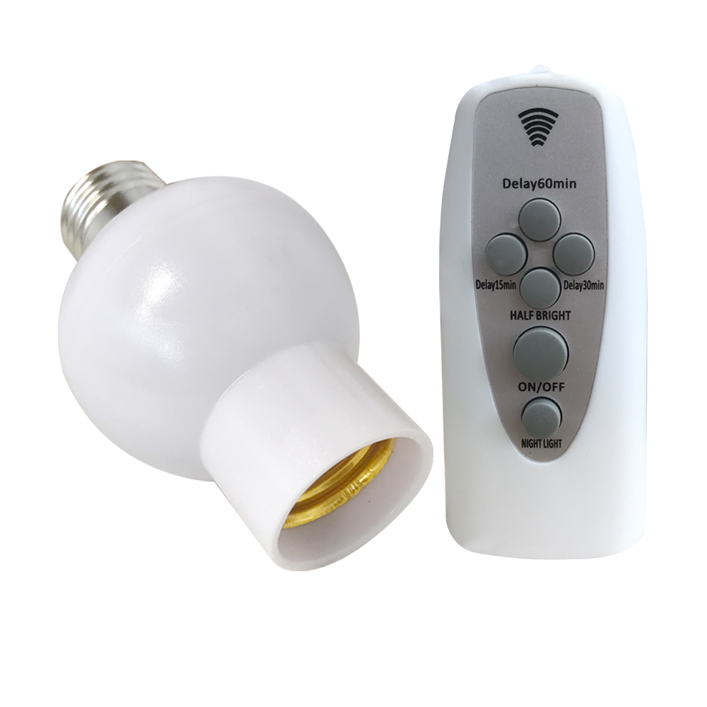Wireless Remote Control Lamp Holder Dimmable E26 E27 Socket 220V Bulb LED Night Light With Timer