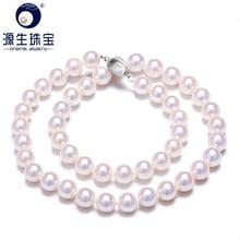 Женское Ожерелье с натуральным жемчугом Akoya, белое ожерелье 8 8,5 мм
