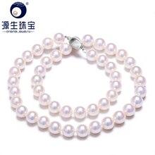 [YS] 8 8.5mm Bianco Giapponese Akoya Coltivate Collana di Perle Naturali