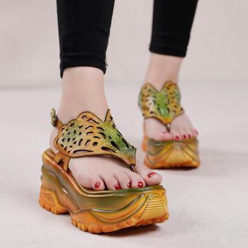 Johnature High Heels Sandals Genuine Leather Women Shoes 2020 New Summer Retro Buckle Strap Mixed Colors Platform Ladies Sandals