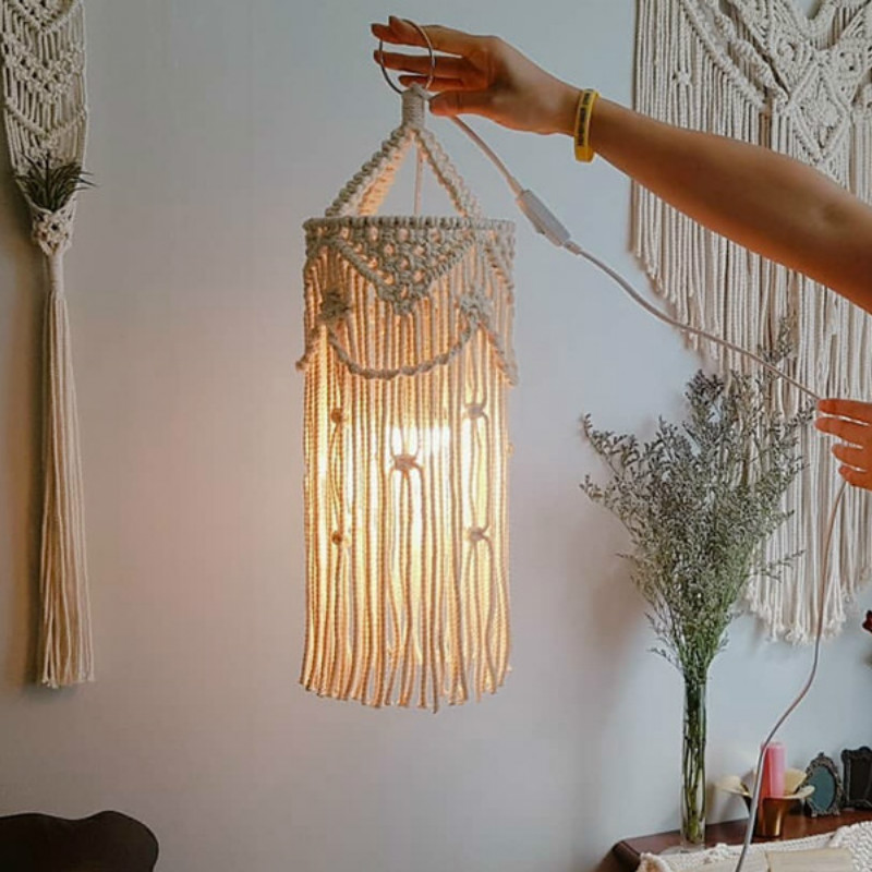 Nordic Ins Chandelier Boho Decor Hand-woven Charm Macrame Wall Hanging Creative Home Bunk Home Decoration Lamp Shade Mandala