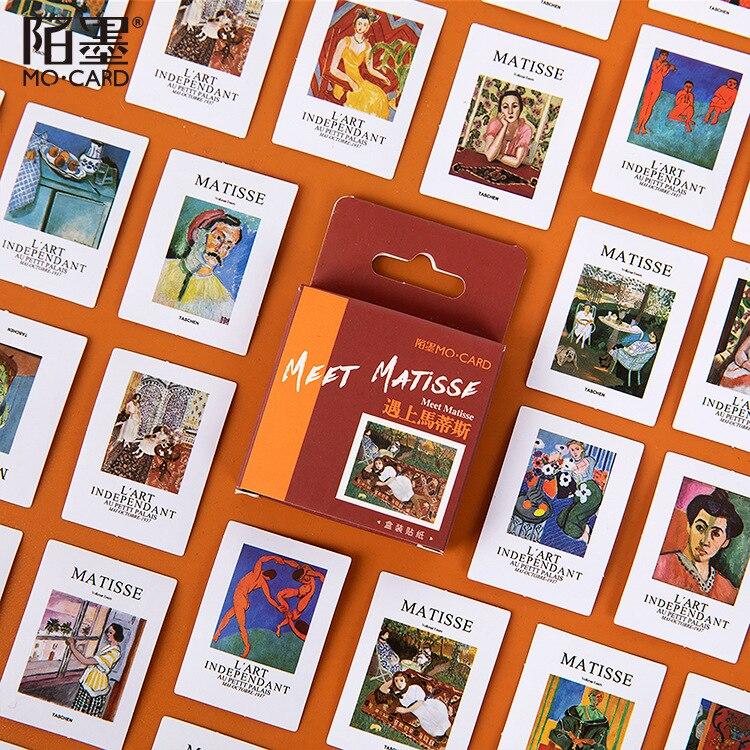 Mohamm 45 PCS Boxed Stickers Meet Matisse Cartoon Paiting Decoration Sticker Flakes Scrapbooking School Supplies