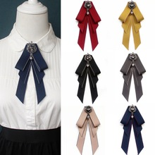 New Fabric Cloth Art Bowknot Brooch Rhinestone Bow Tie College Wind Collar Pin and Brooches Shirt Corsage for Women Accessories 2019 fashion classic striped rhinestone bow tie for women cloth art pearl luxury fabric bowties dress shirt clothing accessories