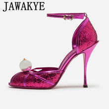 Shiny glittery Leather Crystal super High Heel gladiator Sandals Women Sexy peep toe Summer Party Shoes ankle strap pumps female