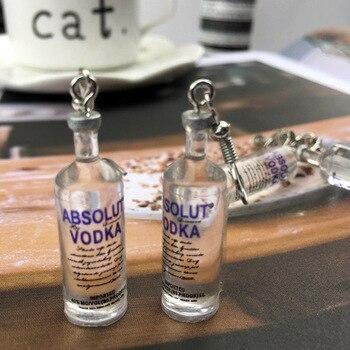 Creative Cool Vodka Bottle Drop Earrings for Women Girl 2019 Funny Drinking Style Cartoon Transparent Bottle Dangle Earrings