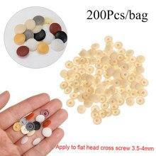 200 pçs/saco porcas de plástico parafusos cobre tampas de proteção exterior prático auto-rosqueamento parafusos decoração capa de mobiliário