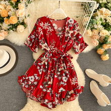 2020 ruffles Boho v neck sexy floral print tie Jumpsuit Women Short rompers Summ