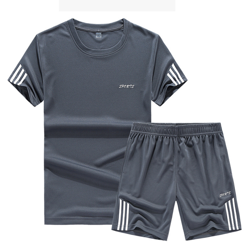 MEN'S Casual Suit Sports Set Male Two-Piece Casual Pants T-shirt Short Sleeve Sports Clothing