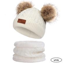 Комплект из 2 предметов, шапка+ шарф, вязаный комплект, теплая зимняя вязаная шапка и шарф для мальчиков, Мягкая Милая меховая шапка для девочек, теплая шапка для катания на лыжах, спорта на открытом воздухе