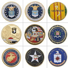 9 pçs wr us ouro chapeado moedas colecionáveis américa militar desafio moeda exército comemorativa coleção de moedas pequeno presente para homem