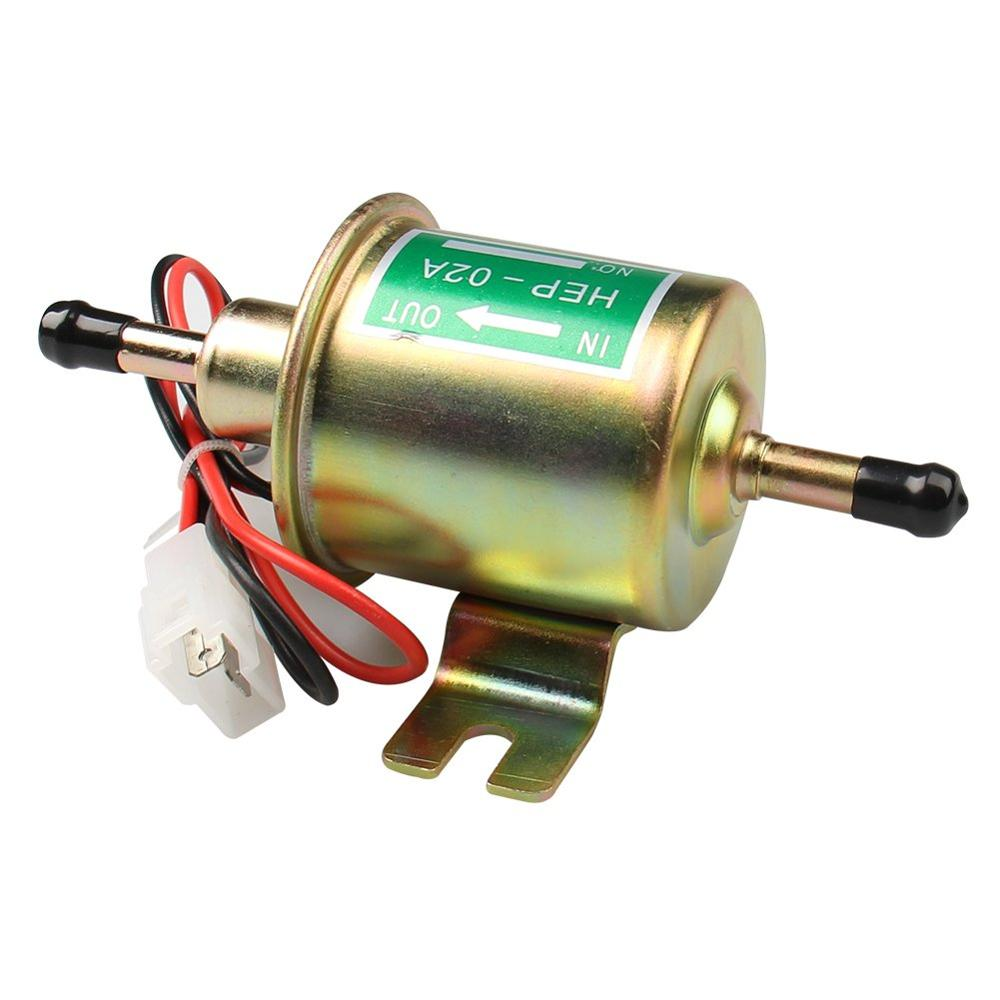 Universal 12V Low Pressure Heavy Duty Gas Diesel Inline Electric Fuel Pump HEP-02A Gold for Car Motorcycle Carburetor Lawn Mower 3-8 PSI