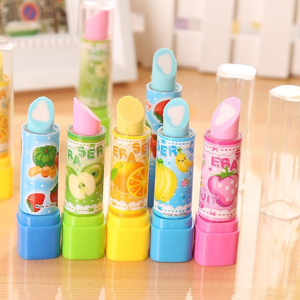 2pcs Cartoon Fruit Lipstick Eraser Creative Learning Cute Kawaii Award Supplies School Elementary Children S9L9