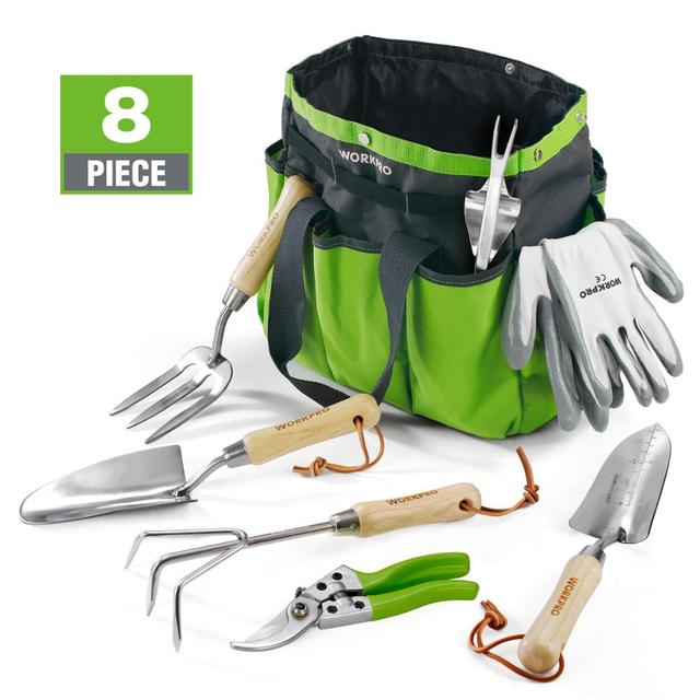 WORKPRO 8PC Garden Tools Set Stainless Steel Heavy Duty Wooden Handle Tote Gloves Trowel Hand Weeder Cultivator Included 1