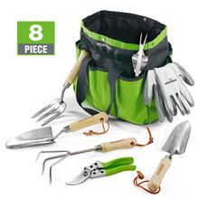 WORKPRO 8PC Garden Tools Set Stainless Steel Heavy Duty Wooden Handle Tote Gloves Trowel Hand Weeder Cultivator Included