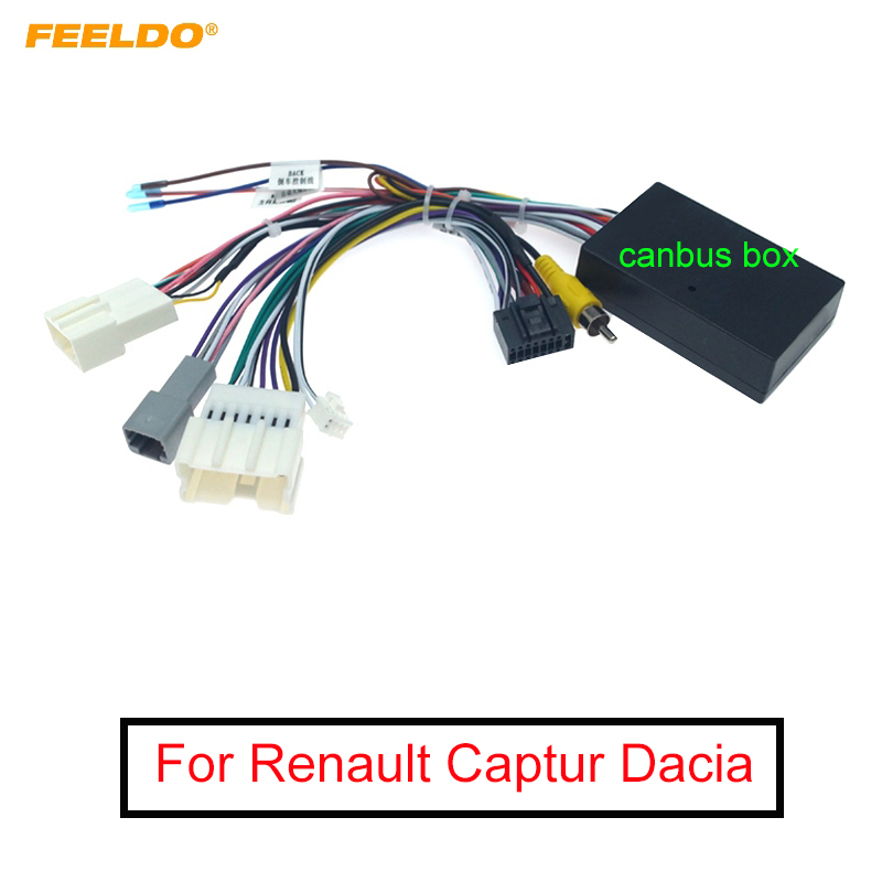 FEELDO Car Audio DVD Android 16PIN Power Cable Adapter With Canbus Box For Renault Captur Dacia Power Wiring Harness