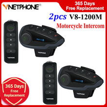 2pcs Vnetphone V8 Motorcycle Bluetooth Interphone Headset Helmet Intercom NFC Remote Control 1200M Full Duplex Talking FM Radio