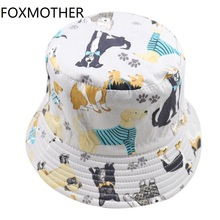 FOXMOTHER New Fashion Casquette Cute Gorras Grey Pet Dog Paw Print Bucket Hats Caps Woman Man Lover Gifts