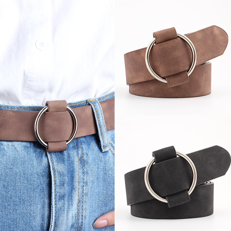 Genuine Quality Womens Designer Round Casual Ladies Belts For Jeans Needle-free Metal Round Buckles Leather Belt Cinturon Mujer