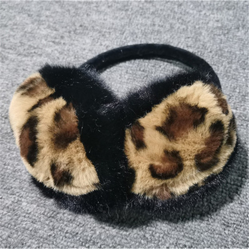 Winter Women Warm Soft Real Rabbit Fur Earmuffs Sexy Leopard Girl Rabbit Fur Plush Ear Muff 100% Real Natural Fur Earmuffs