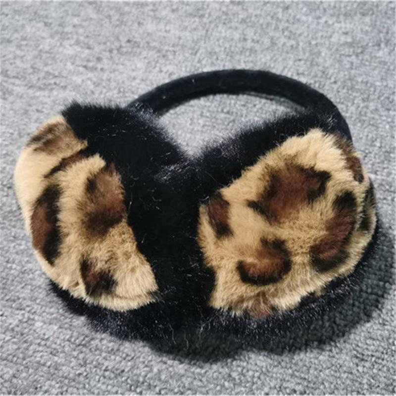 Winter Women Warm Soft Real Rabbit Fur Earmuffs Sexy Leopard Girl Rabbit Fur Plush Ear Muff 100% Real Natural Fur Earmuffs
