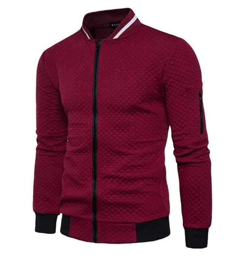 Autumn winter leisure new autumn winter new men diamond case color zipper stand collar casual hoodie coat