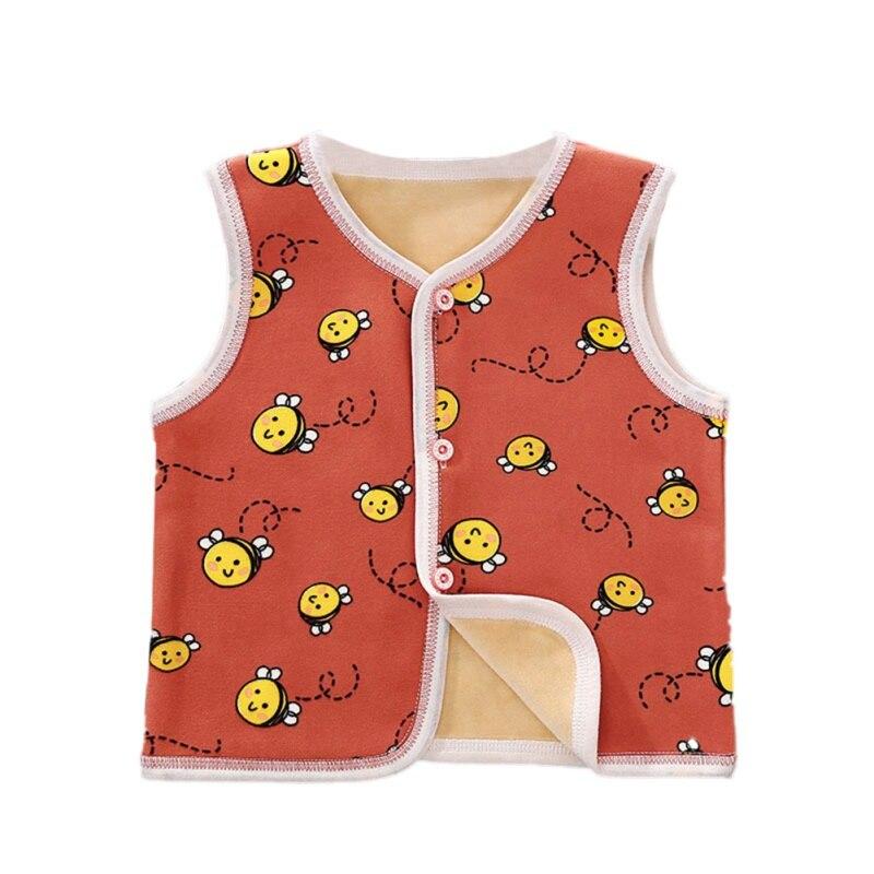 3 цвета, милые осенне-зимние повседневные модные детские жилеты без рукавов с мультипликационным принтом детские жилеты - Цвет: A