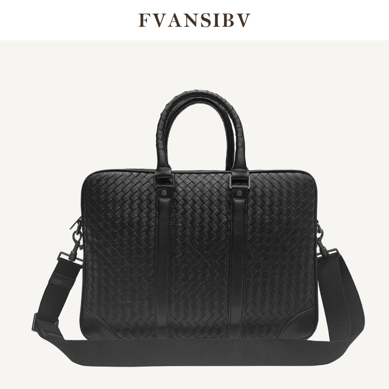 Men's Briefcase 100% Leather Business Handbags Large Capacity 15-Inch Computer Bag Fashion Shoulder Bag Luxury Brand 2020 New