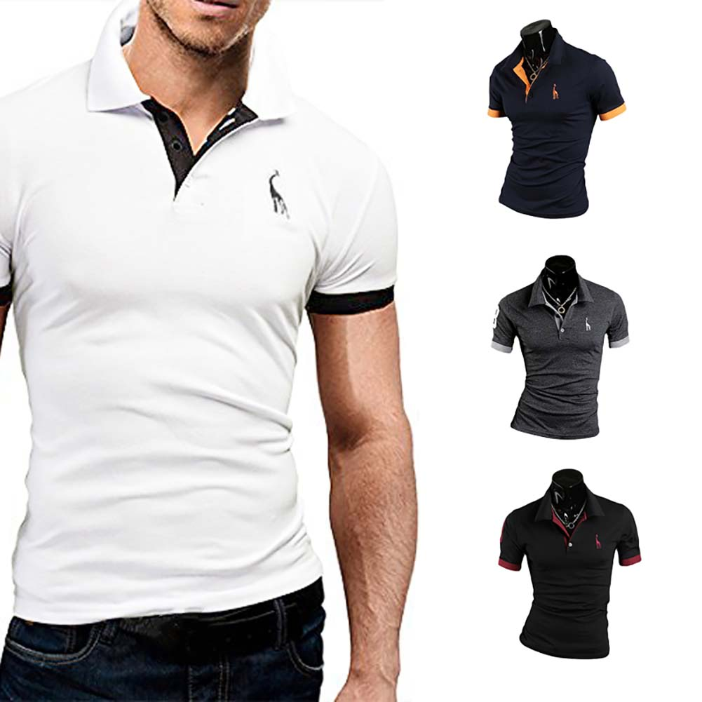 Summer Fashion Men Short-Sleeved Casual Style Fashion Short-Sleeved Top Popular Fashion Polo Solid Color Shirt