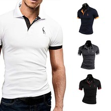 Summer Fashion Men Short-Sleeved Casual Style Fashion Short-Sleeved Top Popular Fashion Polo Solid C