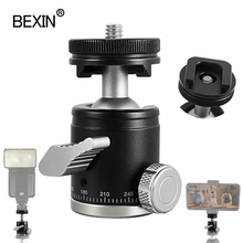 BEXIN מיני ballhead חדרגל כדור ראש חצובה ראש 360 פנורמי ראש עם חמה נעל בסיס הר מתאם עבור dslr מצלמה פלאש