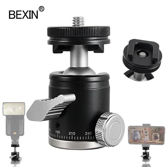 BEXIN mini ballhead monopod topu kafa tripod başkanı 360 panoramik kafa ile sıcak ayakkabı bankası montaj adaptörü dslr kamera flaşı
