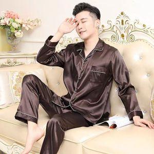 Мужская Шелковая пижама Dormir, однотонная атласная пижама с длинными рукавами для дома на лето и осень, повседневный пижамный комплект пижама...