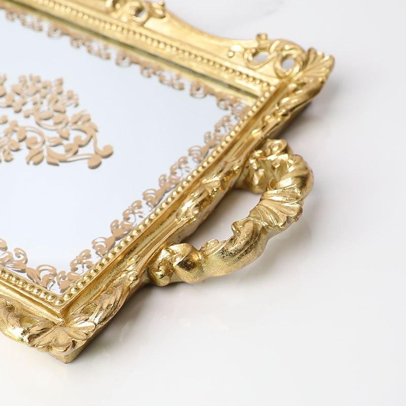 Plateau de rangement de verre en fer plaqué or   Plateau de rangement nordique en fer résine, plateau de miroir, plateau Vintage européen pour gâteau cosmétique bijoux et divers plateaux - 4