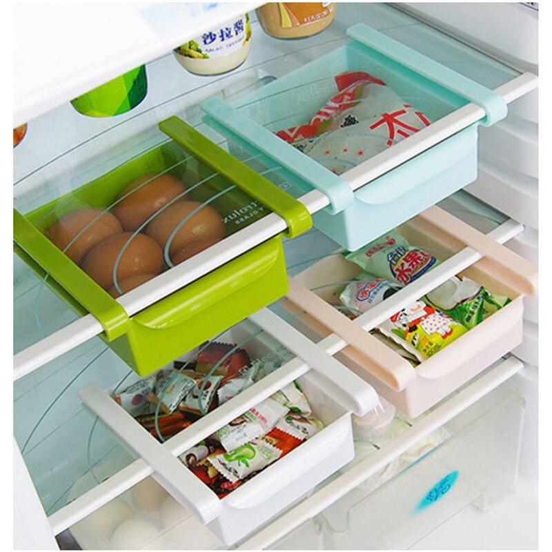 4 colores deslizamiento duradero cocina nevera congelador organizador ahorrador de espacio estante de almacenamiento estante soporte cajón
