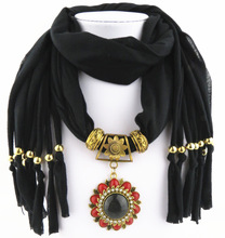 Sun flower national pendant tassel polyester scarf color turquoise women