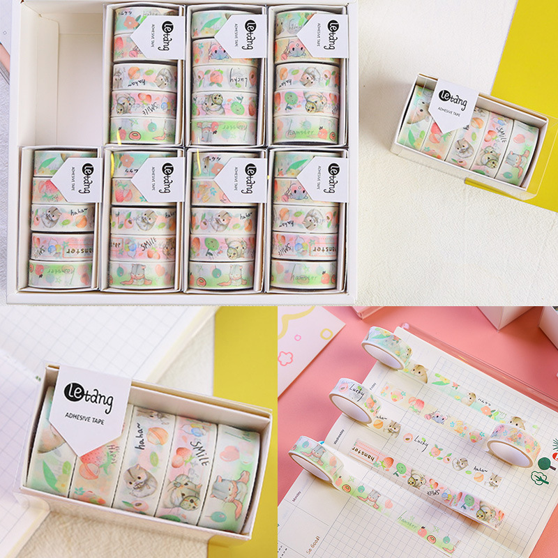 5 Pcs/pack Kawaii Little Hamster Fruit Washi Tape Set DIY Scrapbooking Sticker Label Masking Tape School Office Supply