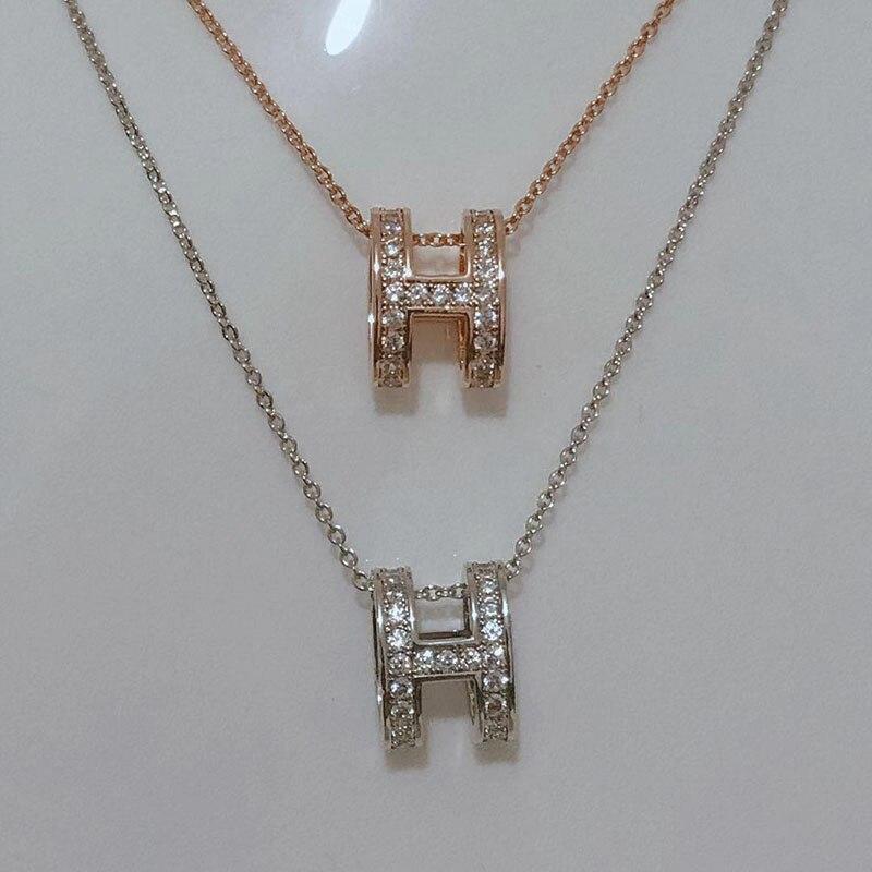 Модное ожерелье из серебра S925 пробы с H-образным бриллиантом для женщин, эксклюзивная цепочка до ключицы с настоящими подвесками