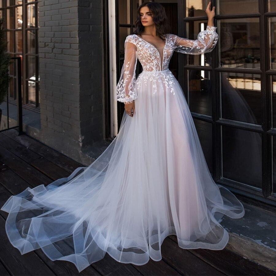 Boho Wedding Dress Puff Long Sleeves A-Line Appliques Floor Length Bride Dress Custom Made Princess Wedding Gown